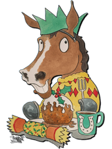 Cartoon of racehorse eating a cooked breakfast